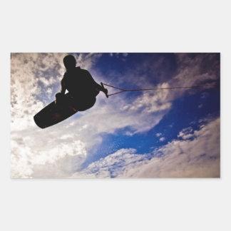 """""""生命"""" Wakeboarderによって逆にされるシルエットを目覚めさせます 長方形シール"""