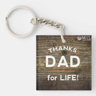 生命keychainのためのありがとうのパパ 正方形(片面)アクリル製キーホルダー