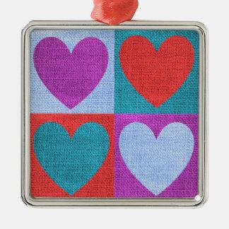 生地のハート愛バレンタインパターン素朴なバーラップ メタルオーナメント