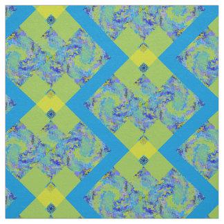 生地の綿のあや織りの青い黄色 ファブリック