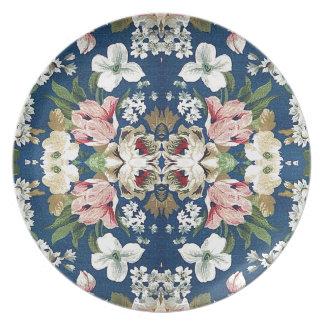 生地の花の装飾的な背景パターン プレート