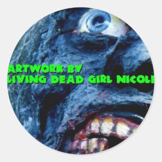 生存死んだ女の子のニコールのゾンビのステッカーによるアートワーク ラウンドシール