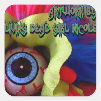 生存死んだ女の子のニコールの目の叫びSticによるアートワーク スクエアシール