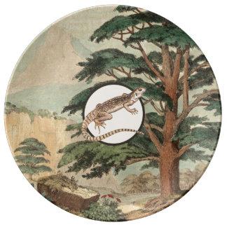 生息環境の絵のサバクイグアナ 磁器プレート