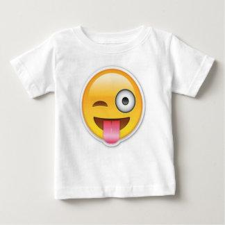 生意気でにこやかなemojiのまばたき ベビーTシャツ