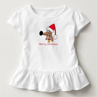 生意気なダックスフントのクリスマスの幼児のひだのティー トドラーTシャツ
