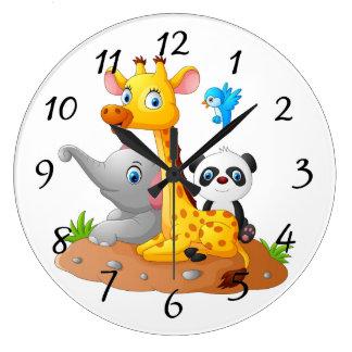生気に満ちた動物の背景 ラージ壁時計