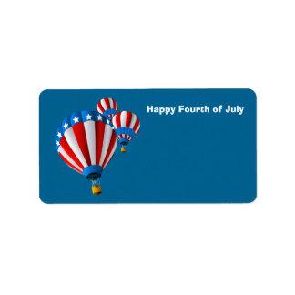 生気に満ちた米国旗の7月4日の熱気の気球 ラベル