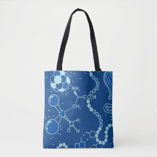 生物または化学スペクトルの青い原子の両面デザイン トートバッグ