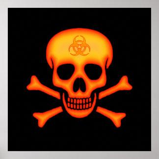 生物学的災害[有害物質]のスカル及び骨が交差した図形ポスター ポスター