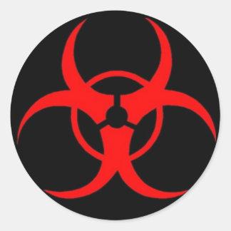 生物学的災害[有害物質]のステッカー ラウンドシール