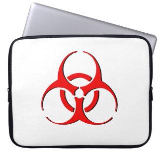 生物学的災害[有害物質]のラップトップスリーブ-黒の赤 ラップトップスリーブ