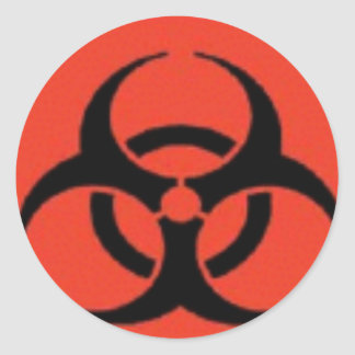 生物学的災害[有害物質]のロゴのステッカー ラウンドシール