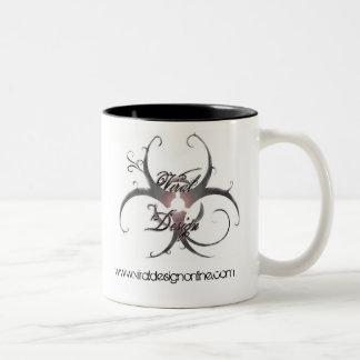 生物学的災害[有害物質]のロゴ ツートーンマグカップ
