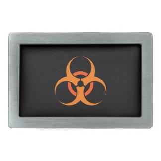 生物学的災害[有害物質]の生物的危険の記号のオレンジ 長方形ベルトバックル