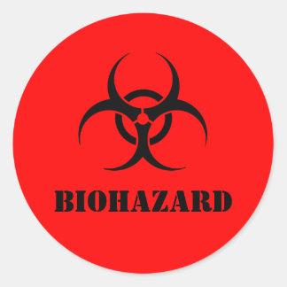 生物学的災害[有害物質]の警告表示のハロウィンの赤い支柱 ラウンドシール