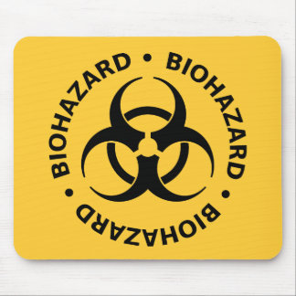 生物学的災害[有害物質]の警告 マウスパッド