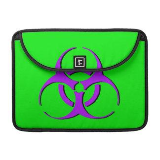 """生物学的災害[有害物質]のMacbookの袖13"""" -紫色の黒い緑 MacBook Proスリーブ"""