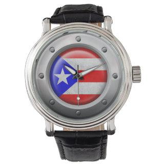 産業プエルトリコの旗の鋼鉄グラフィック 腕時計