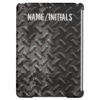 産業名前入りでグランジな黒によって押される金属 iPad AIRケース