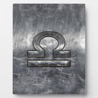 産業天秤座の(占星術の)十二宮図は銀製の鋼鉄に署名します フォトプラーク