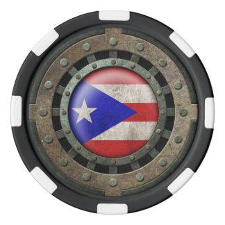 産業鋼鉄プエルトリコの旗ディスクグラフィック ポーカーチップ