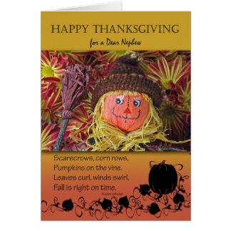 甥のための感謝祭、かわいいかかし カード