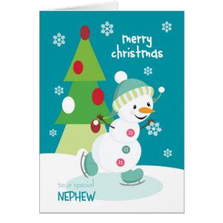 甥のアイススケートの雪だるまのためのメリークリスマス カード
