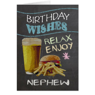 甥のビールハンバーガーとの粋な黒板の効果、 グリーティングカード
