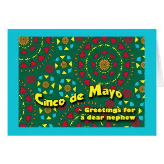 甥、カラフルなモザイクデザインのためのCinco deメーヨー カード