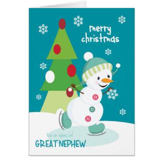 甥/姪の息子のアイススケートの雪だるまのためのクリスマス カード