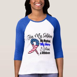 甥-私の兵士、私の英雄の愛国心が強いリボン Tシャツ
