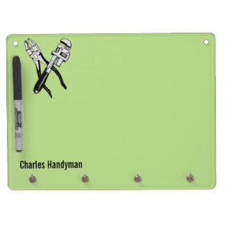 用具のカスタムなモノグラム及び色の伝言板 キーホルダーフック付きホワイトボード