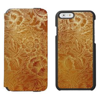 用具を使われた西部の革南西こはく色のブラウン iPhone 6/6Sウォレットケース