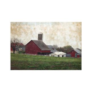 田園アイオワのアマン派の農業の国の農場場面 キャンバスプリント
