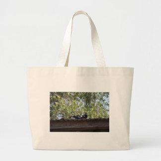 田園クイーンズランドオーストラリアを食べ物を与えているカササギ ラージトートバッグ