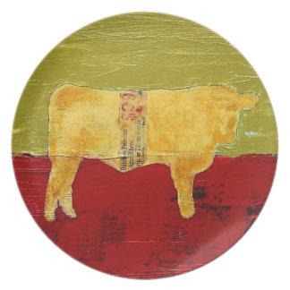 田園モダンな牛プレート プレート