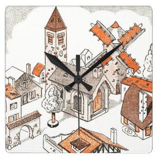 田園ヴィンテージ スクエア壁時計