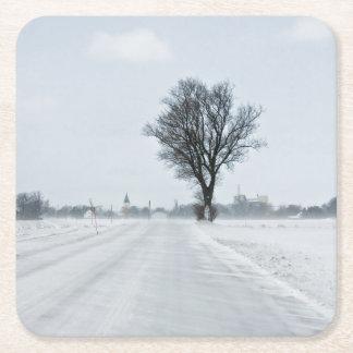 田園冬の道 スクエアペーパーコースター