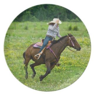 田園牧草地で疾走している乗馬者 プレート