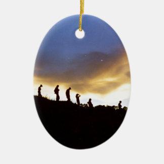 田園観光事業を促進して下さい 陶器製卵型オーナメント