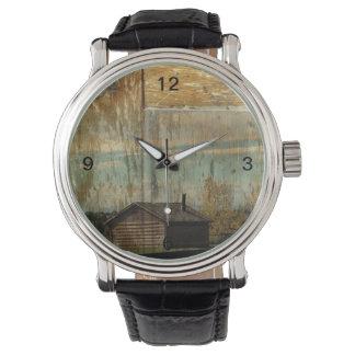 田園鉄道の初期のな西欧諸国の丸太小屋 腕時計