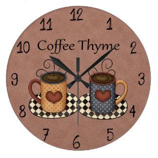 田舎の人たちの芸術の台所コーヒーデザイン ラージ壁時計