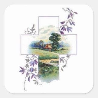 田舎クリスチャンの十字 スクエアシール