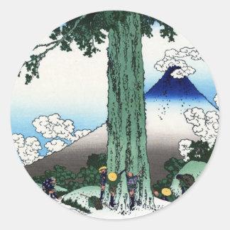甲州三島越、三島、Hokusaiからの北斎の眺め富士山 ラウンドシール