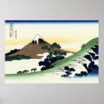 甲州犬目峠、Inume、Hokusaiからの北斎の眺め富士山 ポスター