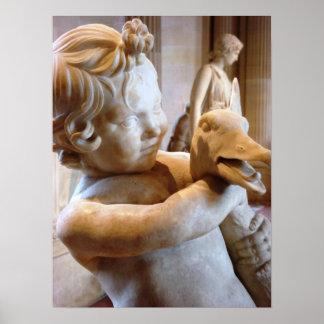 男の子およびガチョウの古代彫刻 ポスター