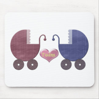 男の子および女の子のベビーの双生児、手押車の芸術のデザイン マウスパッド