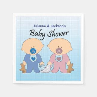 男の子および女の子の双生児のベビーシャワーのナプキン スタンダードカクテルナプキン