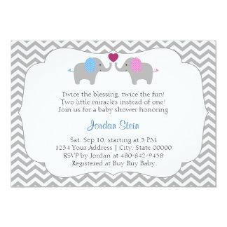 男の子および女の子の双生児のベビーシャワー カード